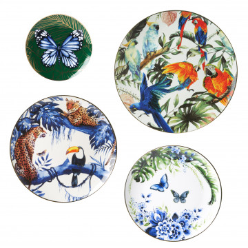 Wandborden Mix 2 Jungle set van 4 Heinen Delfts Blauw