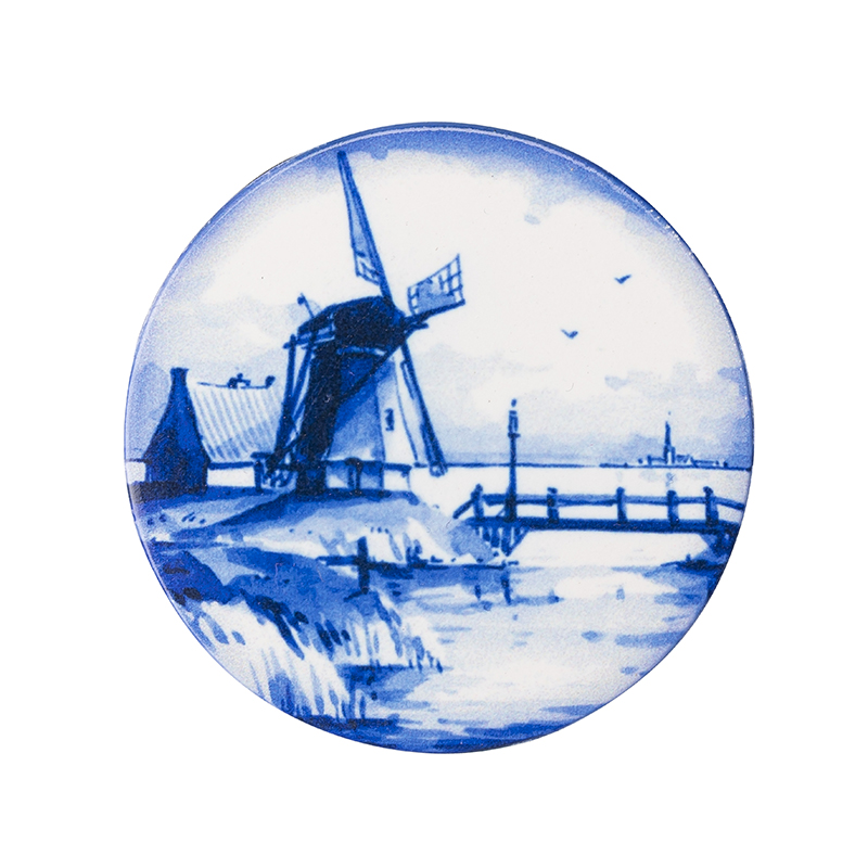 Holland 3.5 Original Art Two MagneticPin Cushions and//or Fridge Magnets Tulips Dutch Delft Blue Windmill